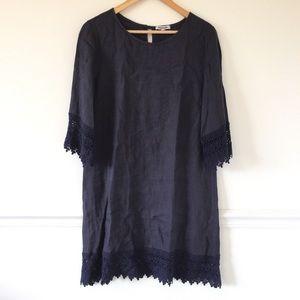 Rosemarine Navy Crochet Trim Dress